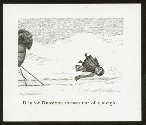 Edward Gorey illustration D IS FOR DESMOND Gashlycrumb Tinies macabre art print