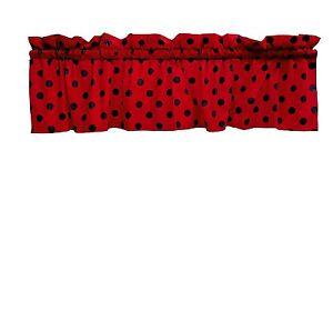 Details About Lovemyfabric Cotton Black Polka Dots Print On Red Kitchen Valance Window Decor