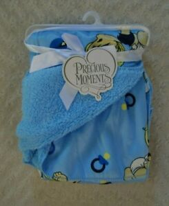 Precious Moments Baby Boy Blanket Blue Rattle Pacifier