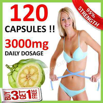 120 x GARCINIA CAMBOGIA CAPSULES UK CHEAPEST WEIGHT LOSS 3000mg DAILY Fat Burner