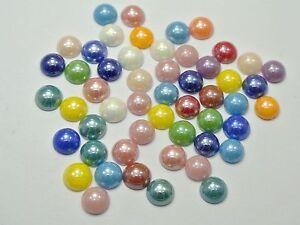 200 Mixed Color Square Pyramid Flatback Glass Cabochon Ceramic Half Pearl 8X8mm