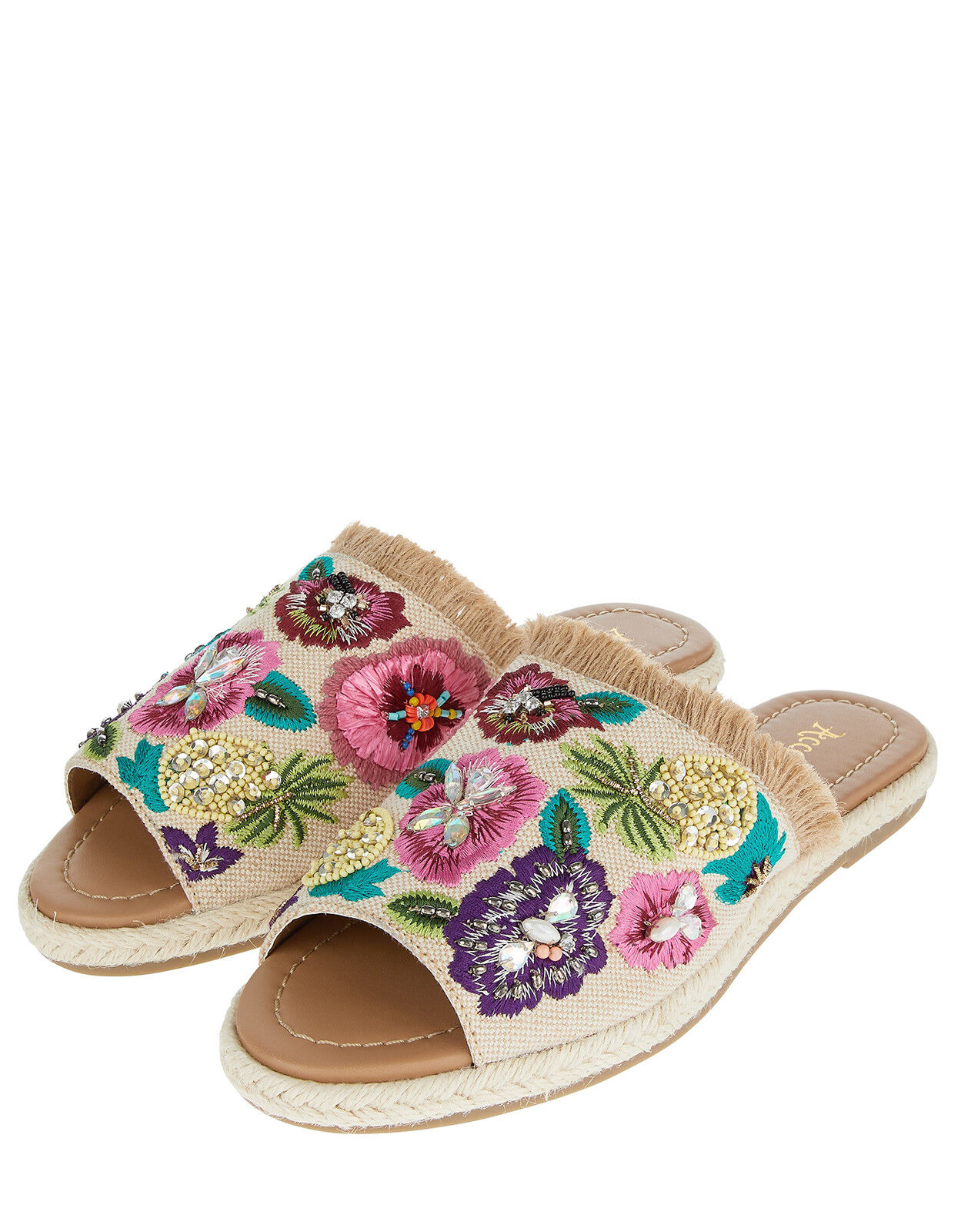 MONSOON ACCESSORIZE ELLA EMBROIDErot SLIDER JUTE SLIDES PINEAPPLE KITSCH 5 38 7