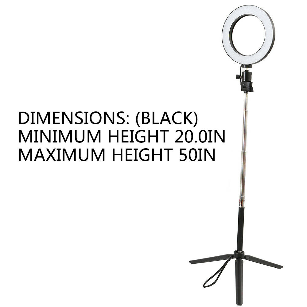 Studio LED Ring Light w/ Tripod Stand Dimmable Photo Video Lamp Kit For Camera 8