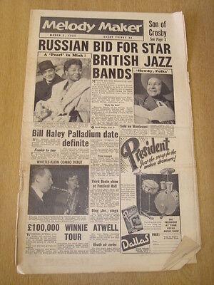 Genereus Melody Maker 1957 March 2 Bill Haley Pearl Bailey Frankie Vaughan Jazz Swing Limpid In Zicht