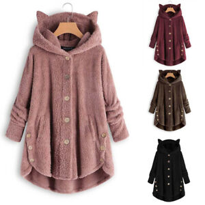 Women-Button-Coat-Solid-Tops-Hooded-Pullover-Loose-Sweater-Blouse-Plus-Size-Coat
