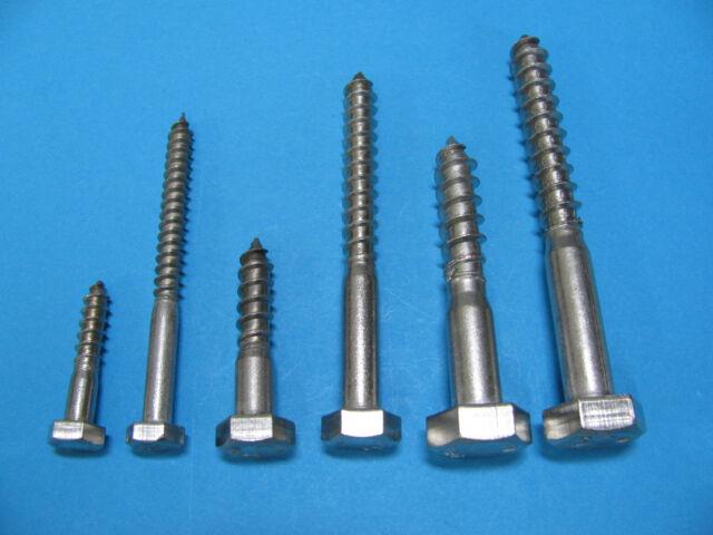 Schlüsselschrauben Edelstahl DIN571 V2a Sechskant-Holzschrauben 5,6,8,10,12