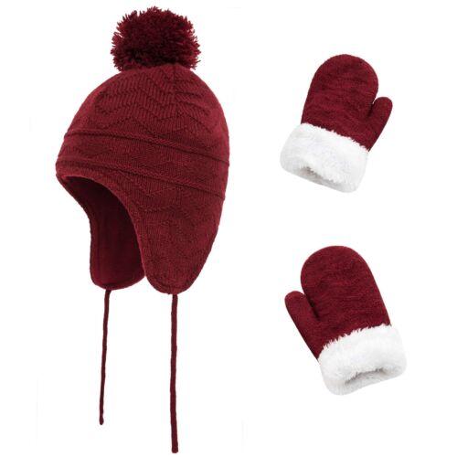 Kids Winter Beanie Hat Mittens Set Baby Toddler Boys Girls Knitted Hat /& Gloves