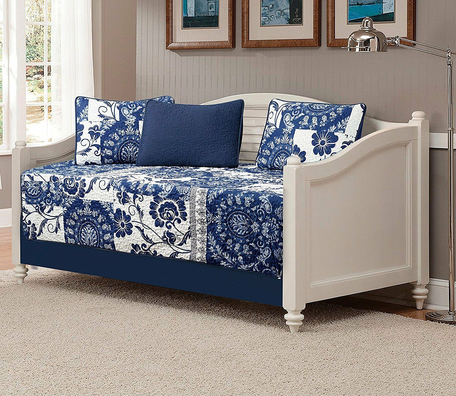 Fancy Linen 5pc Daybed Quilted Floral White Navy blueeee New