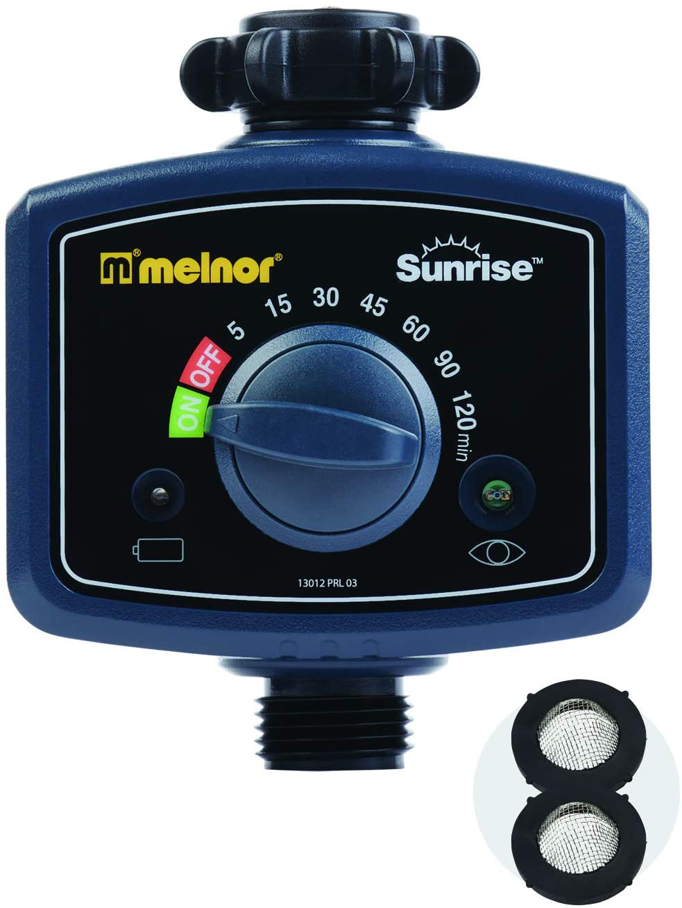 Melnor 65073-AMZ Sunrise Once-A-Day Automatic Water Timer with 2 Filter Washers