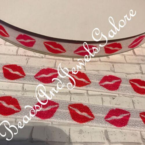 Lips foe kisses foe elastic lipstick hair ties kiss elastic kisses fold over-5//8