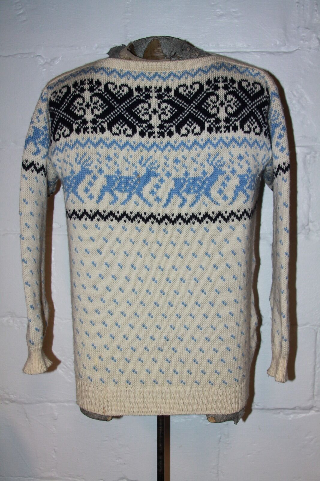 VTG Dale of Norway Nordic Wool Blau Reindeer Ugly Christmas Sweater Sz 52 L