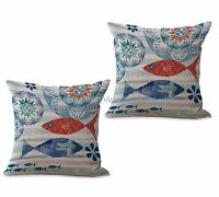 Us Seller- Set Of 2 Cheap Outdoor Ocean Animal Sea Life Fishes Cushion Cover
