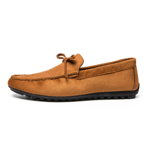 39-44 Men Moccasin Slip On Bowknots Faux Suede Leather Driving Boat Shoes Flat B