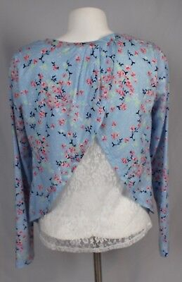 D1-12 NEW Deb Blue Open Lace Back Floral 3//4 Sleeve Top Blouse