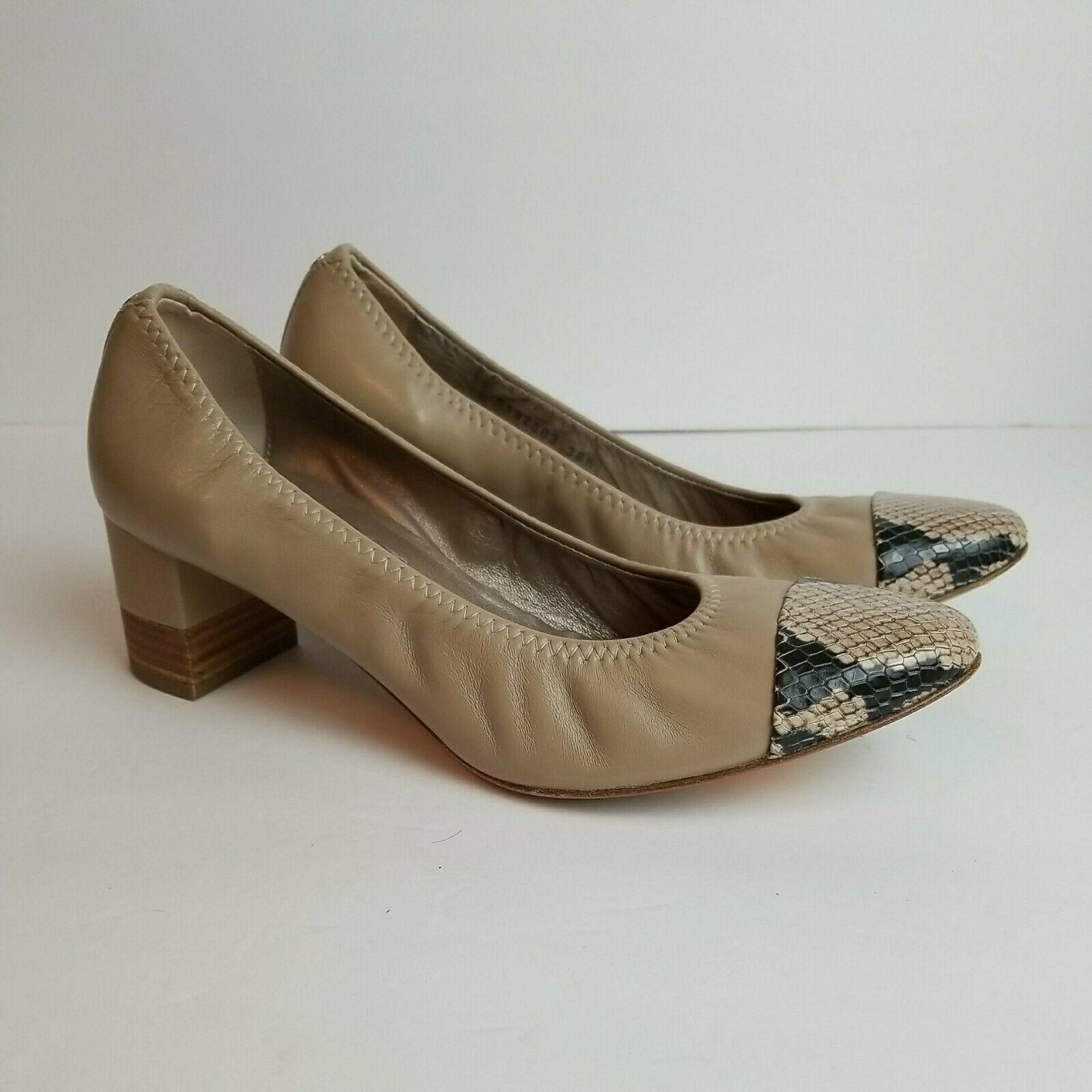 Leather AGL ATTILIO GIUSTI LEOMBRUNI Beige Snake Cap Toe Pumps Heel 38.5 / 8.5
