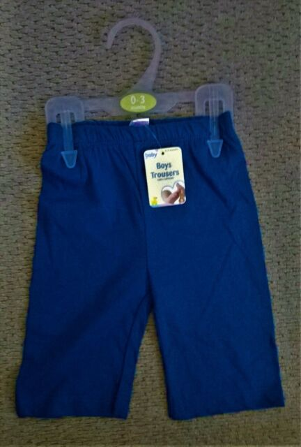Just Baby Boy's Blue Trousers 100% Cotton Newborn or 0-3 Month - New With Tags