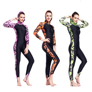 Women-Long-Sleeve-Rashguard-One-piece-Print-Swimwear-Scuba-Surfing-Suit-Swimsuit