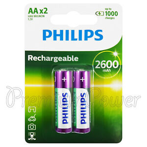 2-x-Philips-Rechargeable-AA-2600-mAh-batteries-NiMh-1-2V-HR6-Mignon-Pack-of-2