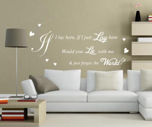 Snow Patrol /'Chasing Car/' Song Lyrics VINYL Wall Sticker Art Quote HIGH QUALITY