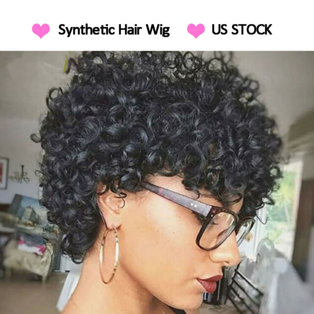 Short Afro Curly Black Wigs Pixie Cut Synthetic