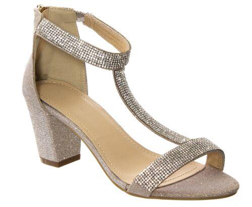 Femmes mousseux strass glitz t-bride talon bottier et fermeture éclair arrière sans orteils chaussures