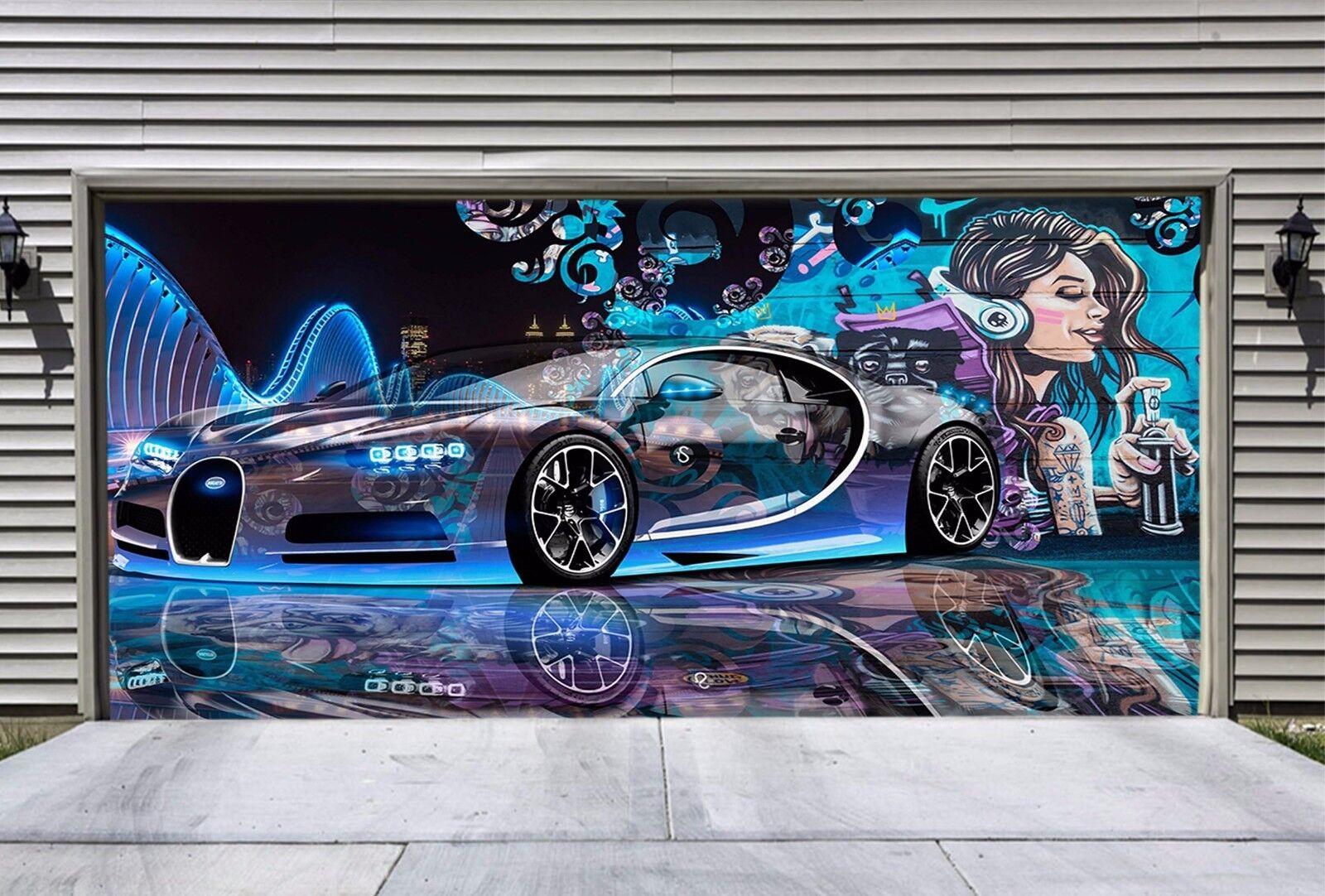 3D Sports Car Girl 42 Garage Door Murals Wall Print Wall AJ WALLPAPER UK Lemon