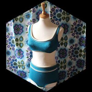 vintage 60s 70s Silhouette blue bikini 2 piece swimsuit UK 10 pin up rockabilly
