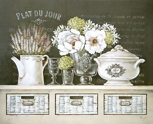 Sterfania-Ferri-plat-du-jour-Wedge-Frame-Picture-Canvas-Cottage-Vintage-Kitchen