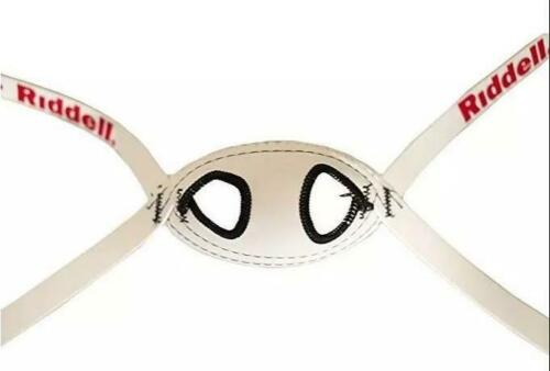 Riddell Soft Cup Chin Strap M Medium 4-pt Mid High Hookup WHITE FAST SHIP A27