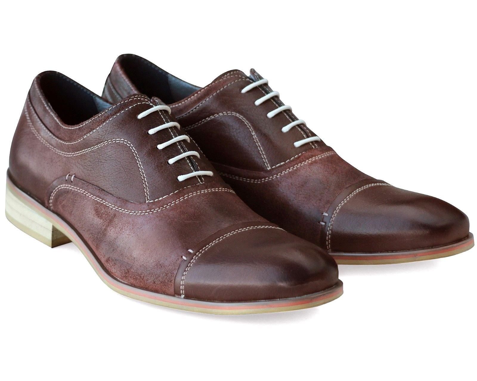 541 NEW MENS BROWN REAL LEATHER CASUAL SHOES COMFORT LACE UP WORK