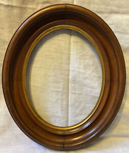 Antique Victorian Wood Oval Deep Well Picture Frame Gilded East Lake Style