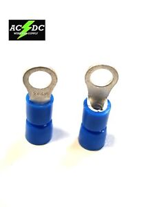 16-14 Blue Vinyl Insulated #10 Hook 100PK Hook Ring Terminal