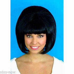 80s Rocker Cher Shaggy Crimped Black Wig Women/'s fancy dress costume WIG