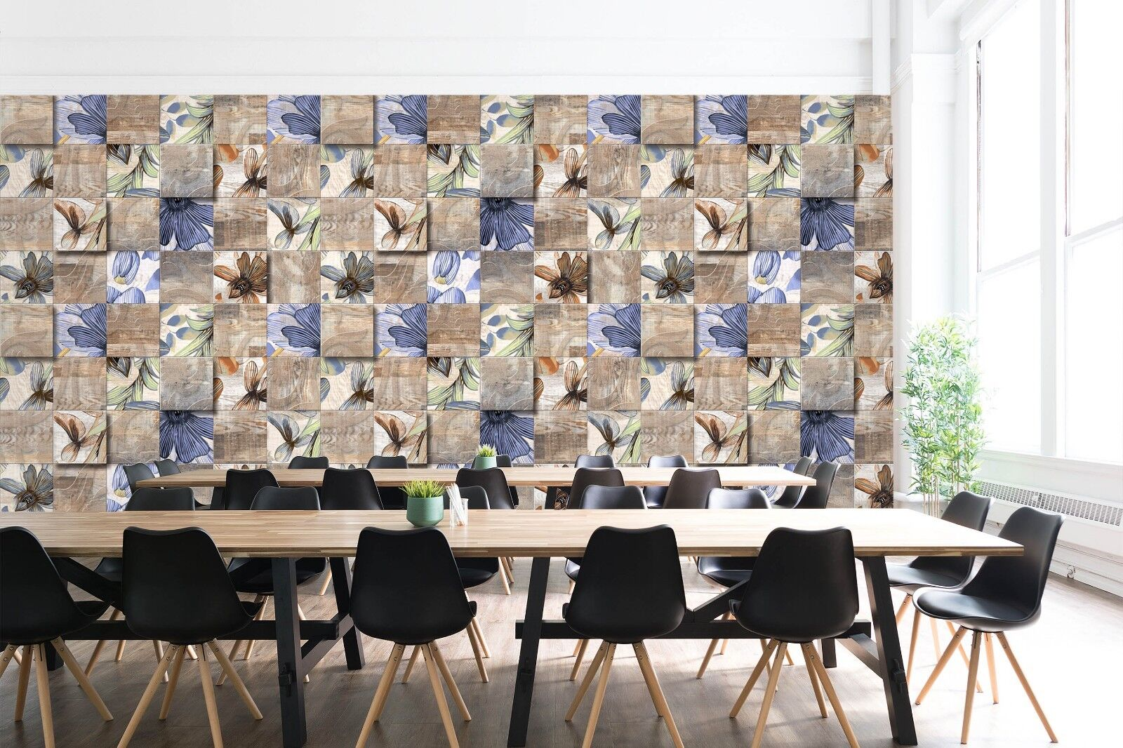 3D Blau Flower Pattern 871 Texture Tiles Marble Wall Paper Decal Wallpaper Mural