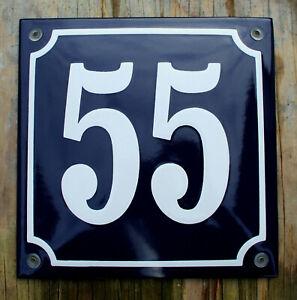 Dettagli su Numero CIVICO 55 francese SMALTO sign. No.55 bianco su sfondo blu. 16x16cm. mostra il titolo originale