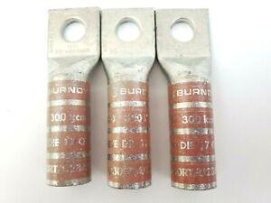 Lot-of-3-Burndy-YA30-300-KCMIL-1-2-034-Stud-Long-Barrel-Crimp-Lugs
