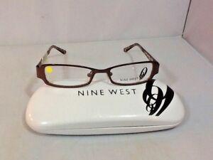 Nine-West-Women-039-s-Eyeglass-Frames-Hard-Case-Rectangle-Satin-Brown