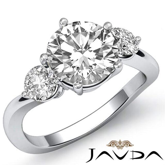 2ct Round Brilliant Cut Diamond Engagement Platinum Ring GIA F VS2 3 Three Stone