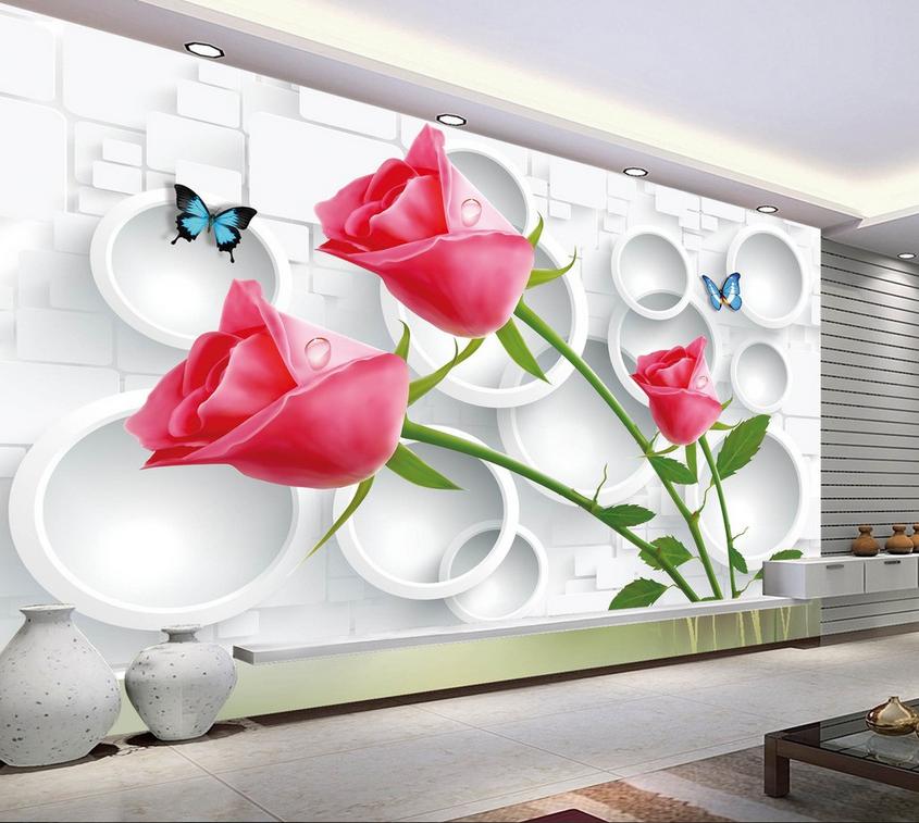 3D Circle ROT Rose Leaves 9 Wallpaper Mural Paper Wall Print Wallpaper Murals UK