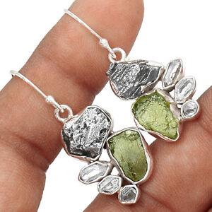 Moldavite-amp-Herkimer-Diamond-925-Sterling-Silver-Earrings-Jewelry-EE171554