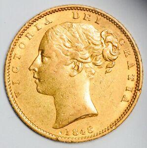 ELUSIVE 1848 Queen Victoria Gold Shield Sovereign