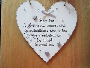 PERSONALISED HEART PLAQUE HANDMADE GIFT MUM NAN GRANDMA HAPPY MOTHER/'S DAY Quote