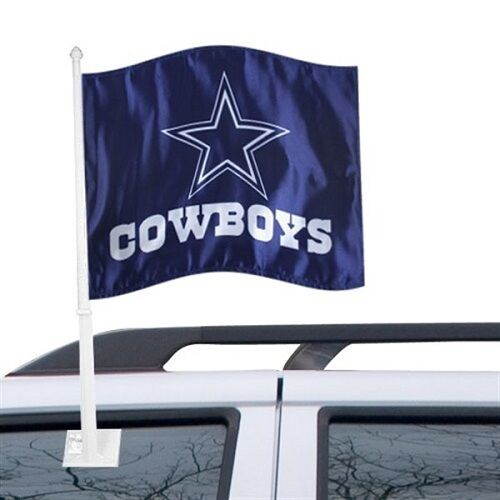 DALLAS COWBOYS CAR AUTO FLAG BANNER & POLE 2 SIDED NFL FOOTBALL
