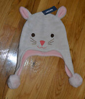NWT Old Navy Toddler Girl Bunny Knit Hat Fleece Lining 12-24 mos 2T/3T 4T/5T
