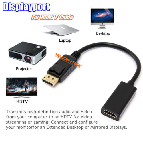 Display Port DP 1.2 to HDMI Converter Cable Adapter Support 3D 4K*2K for HDTV