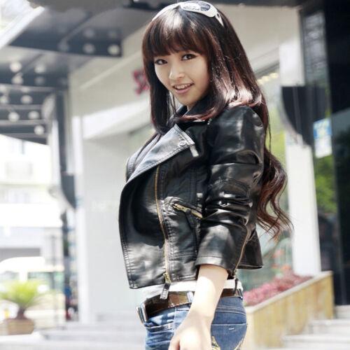 Vintage Women Slim Biker Coat Punk Motorcycle PU Leather SoftZipper Jacket Goth