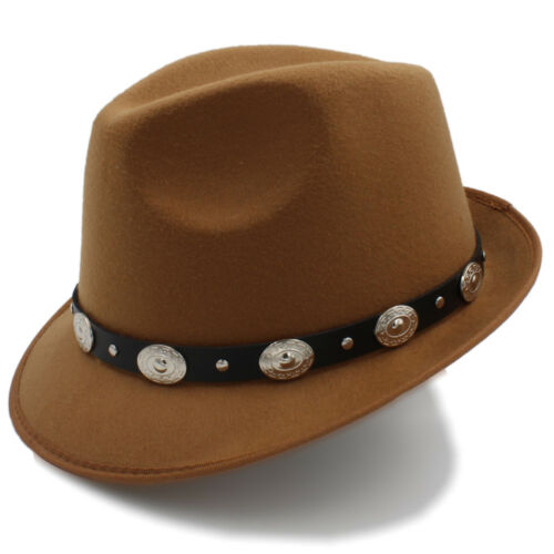 Men Women Solid Hard Felt Trilby Hats Fedora Caps Jazz Sunhat Gangster Size L