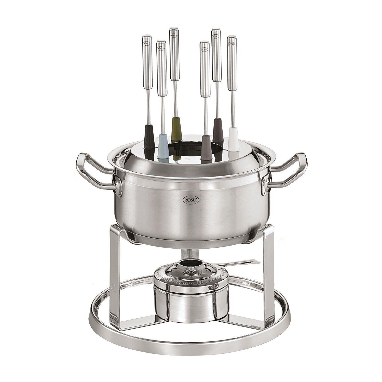 Fondue ROSLE sistema quemador de acero inoxidable de 20cm y 6 tenedores para fondue de Cochene