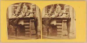 Italia Scultura Basso Rilievo Religion c1865 Foto Stereo Vintage Albumina