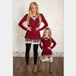 Mother-Daughter-Long-Sleeve-Dress-Women-Girls-Lace-Blouse-Family-Outfit-Clothes